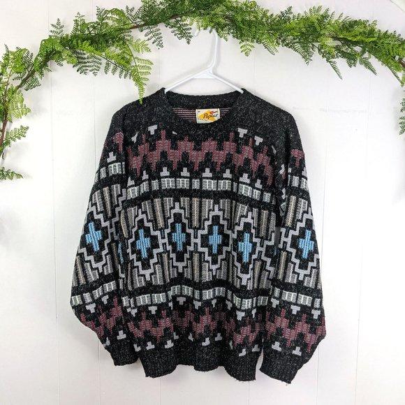 Vintage Poplar Gray Knit Patterned Sweater